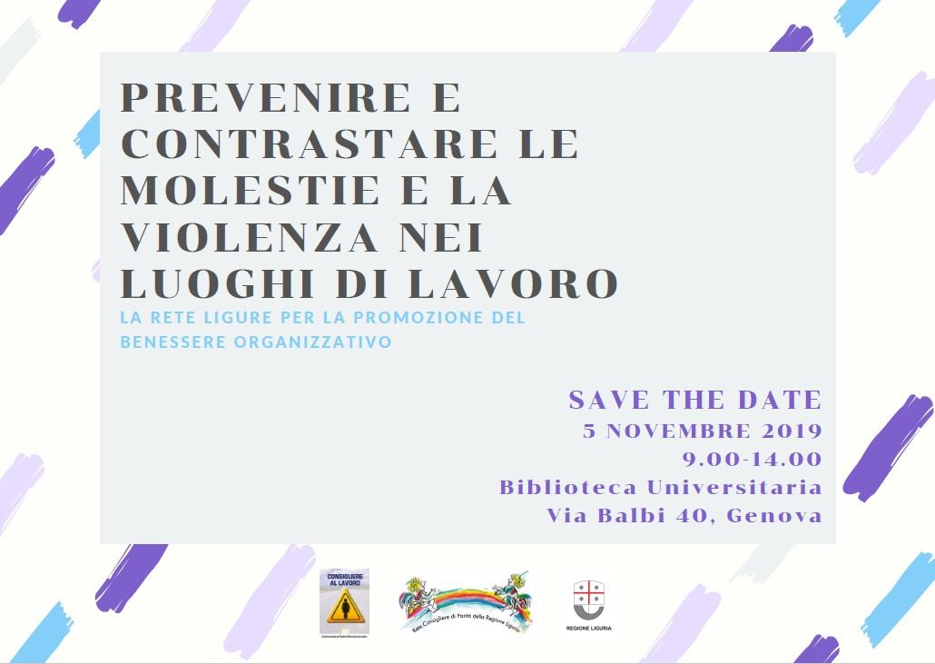 SAVE THE DATE 5 NOVEMBRE 2019 SEMINARIO ANTI MOLESTIE